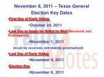november 8 2011 texas general election key dates