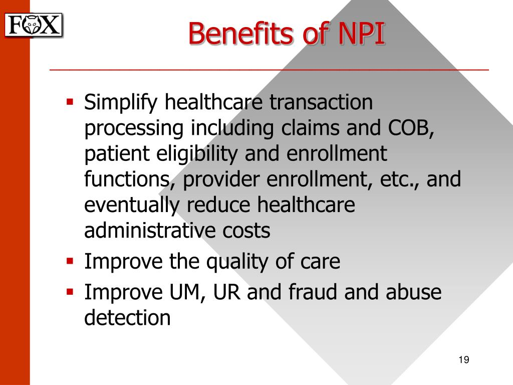 Benefits of NPI