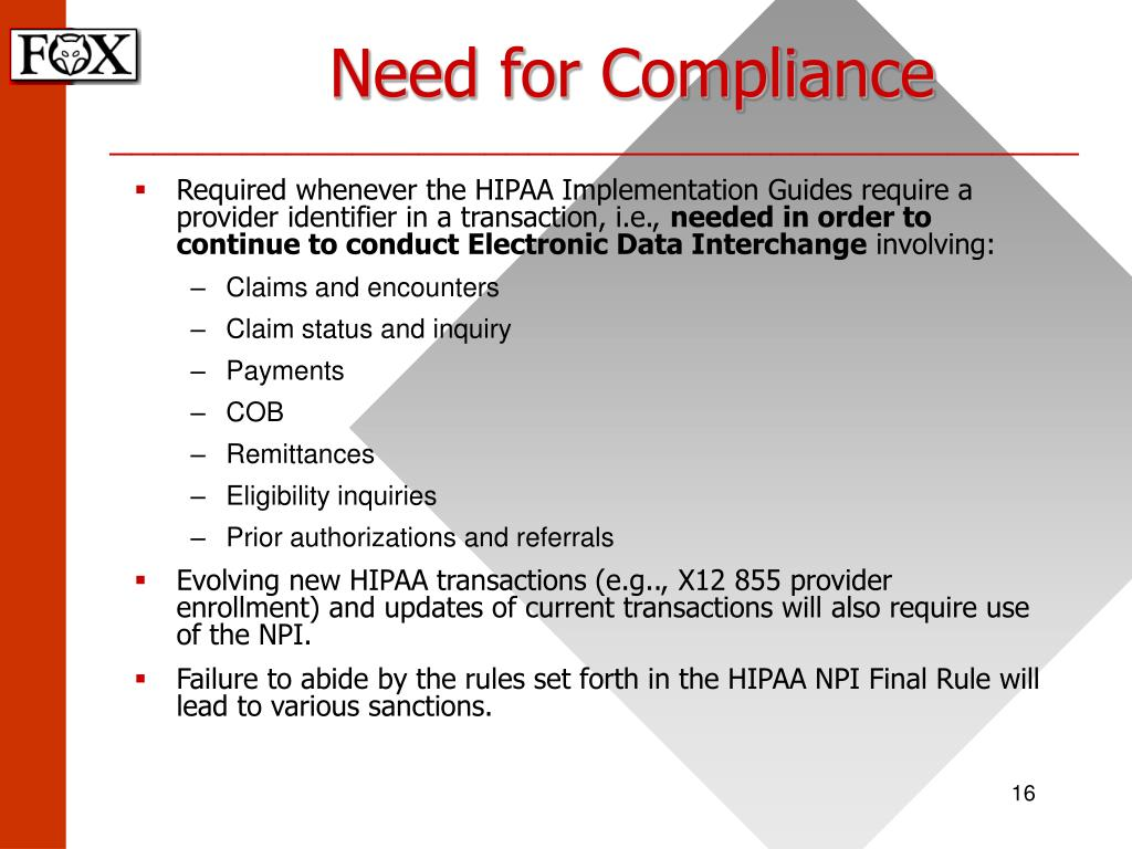 Need for Compliance