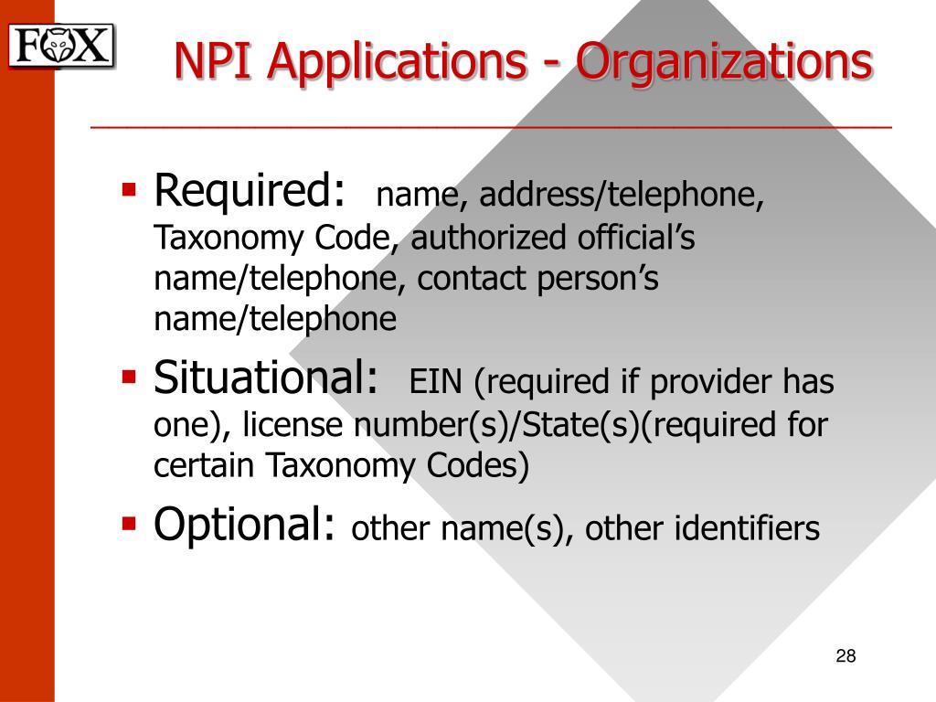 NPI Applications - Organizations