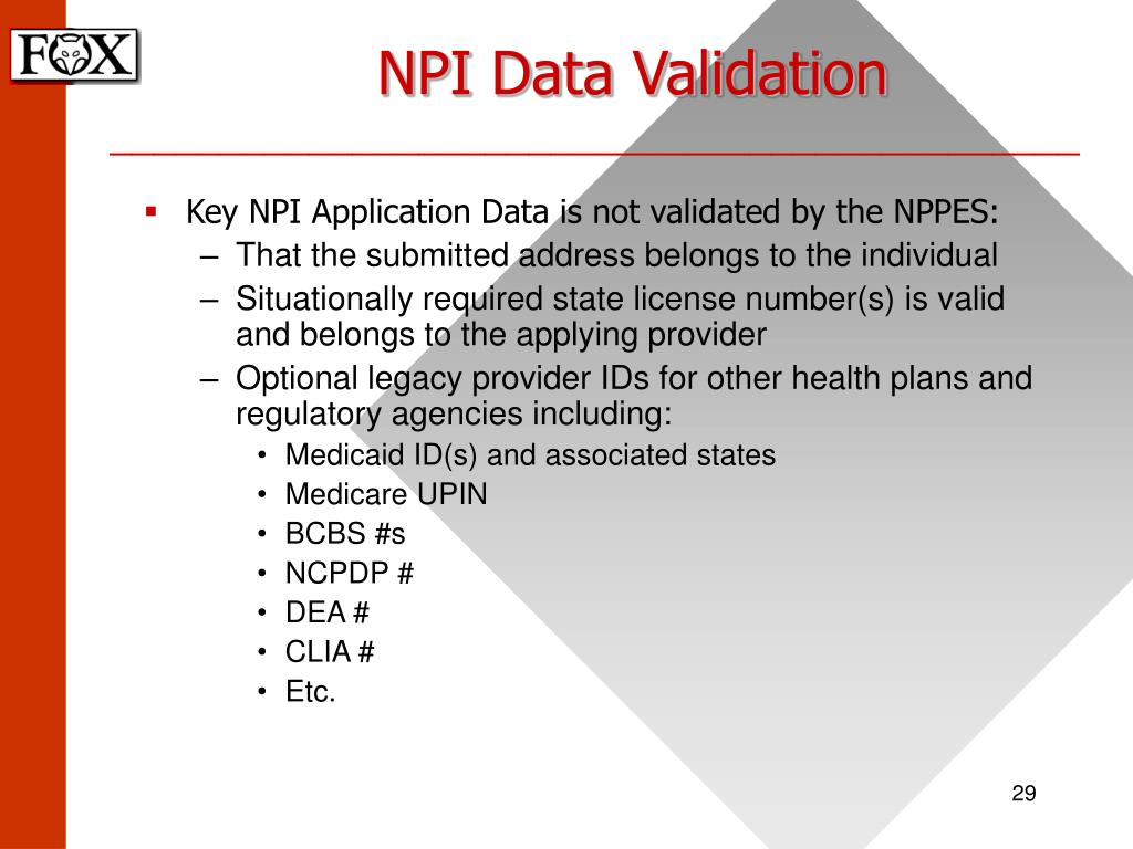 NPI Data Validation