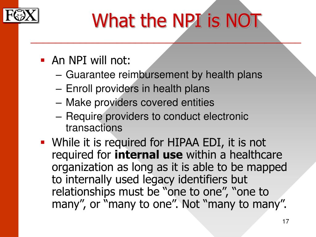 What the NPI is NOT