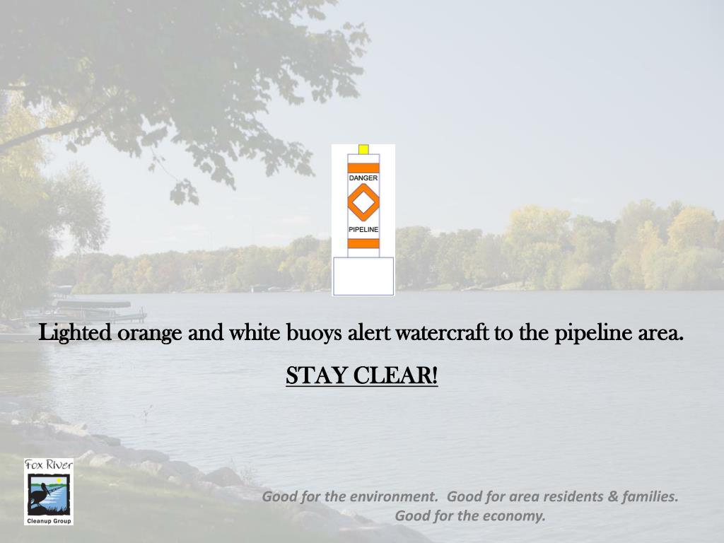 Lighted orange and white buoys alert watercraft to the pipeline area.