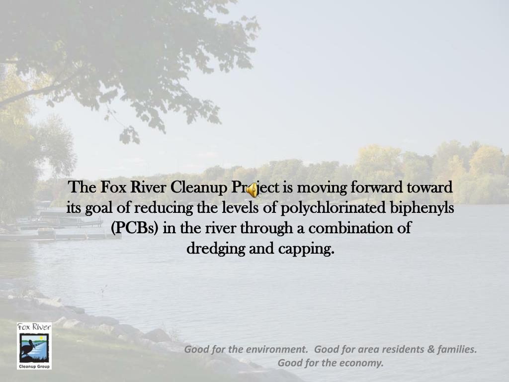 The Fox River Cleanup Project is moving forward toward   its goal of reducing the levels of polychlorinated biphenyls (PCBs) in the river through a combination of             dredging and capping.