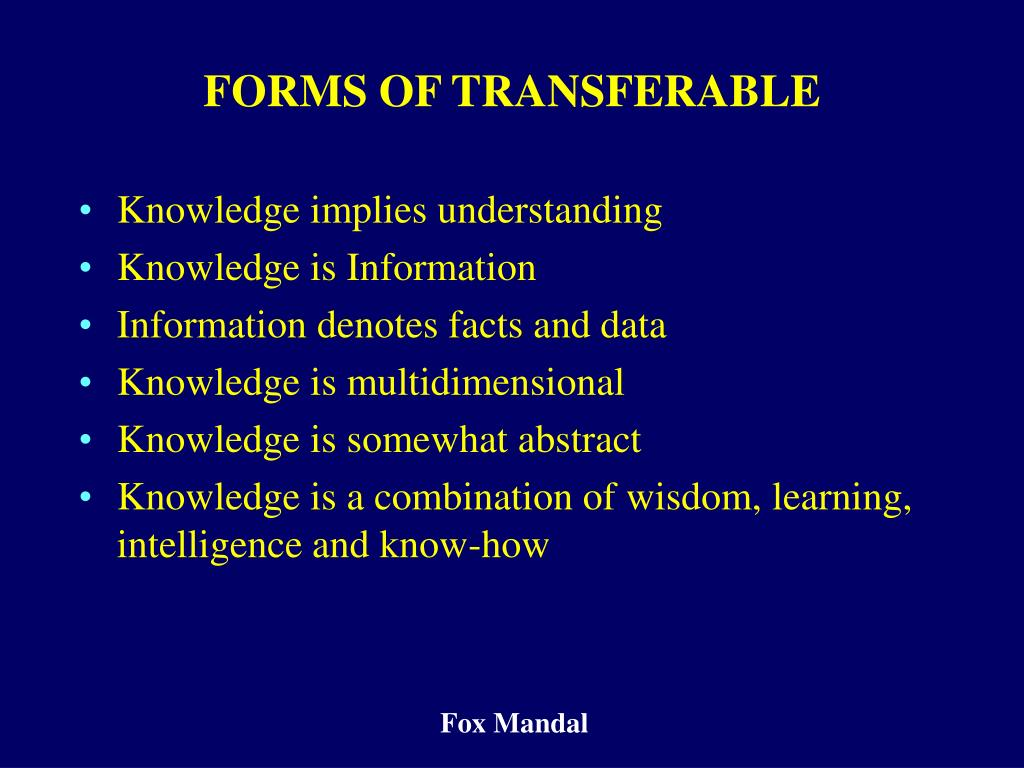 FORMS OF TRANSFERABLE