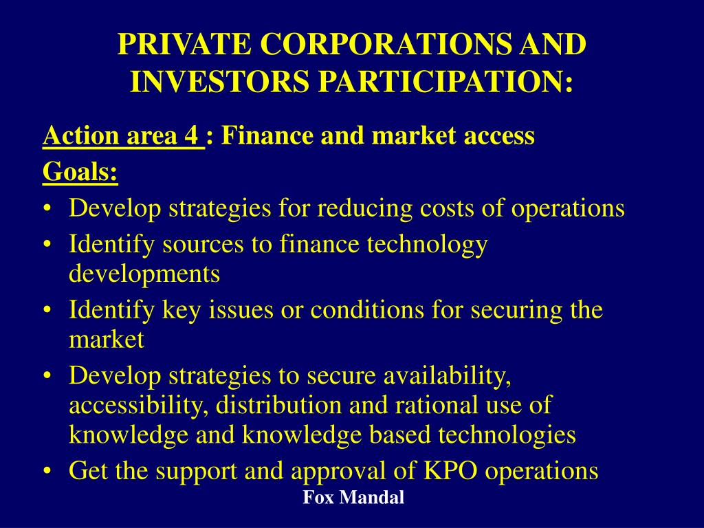 PRIVATE CORPORATIONS AND INVESTORS PARTICIPATION: