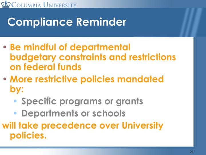 Compliance Reminder