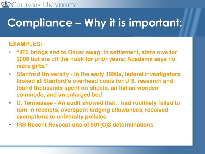 Compliance – Why it is important: