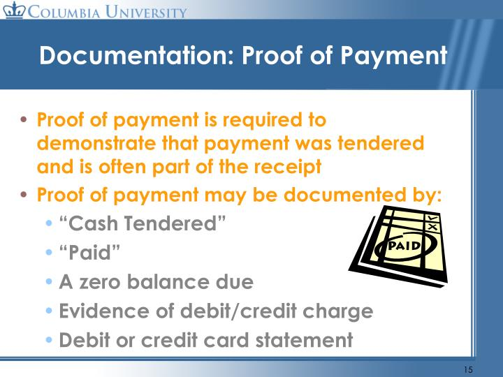 Documentation: Proof of Payment