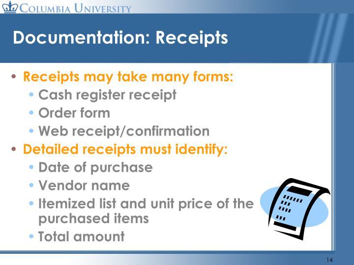Documentation: Receipts