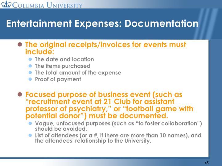 Entertainment Expenses: Documentation