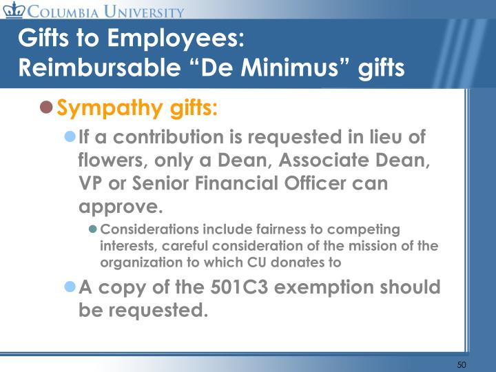 Gifts to Employees: