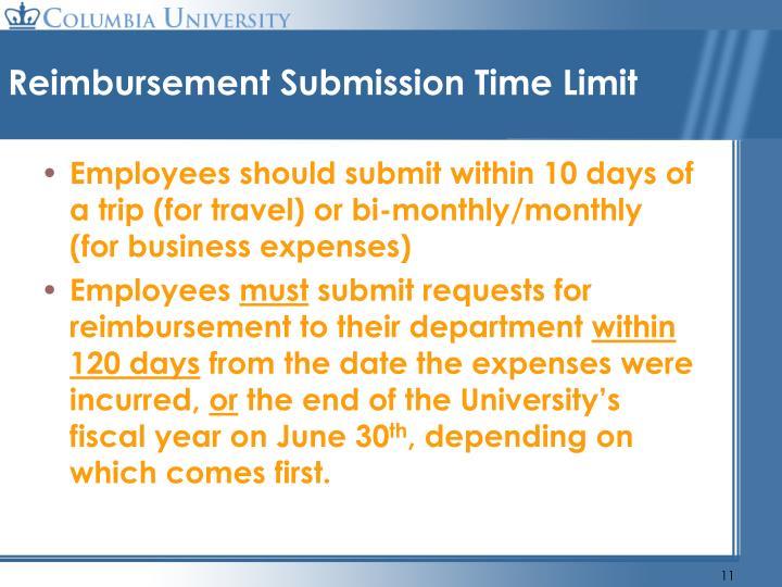 Reimbursement Submission Time Limit