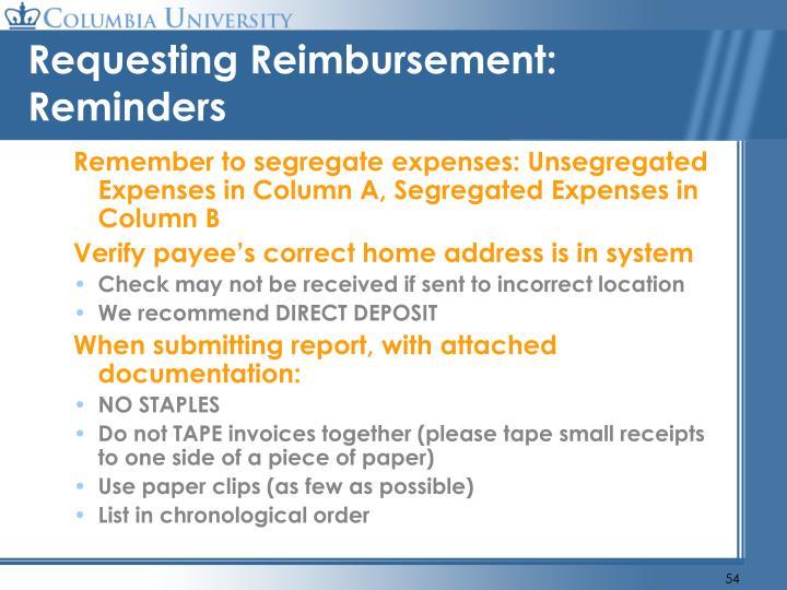 Requesting Reimbursement: Reminders