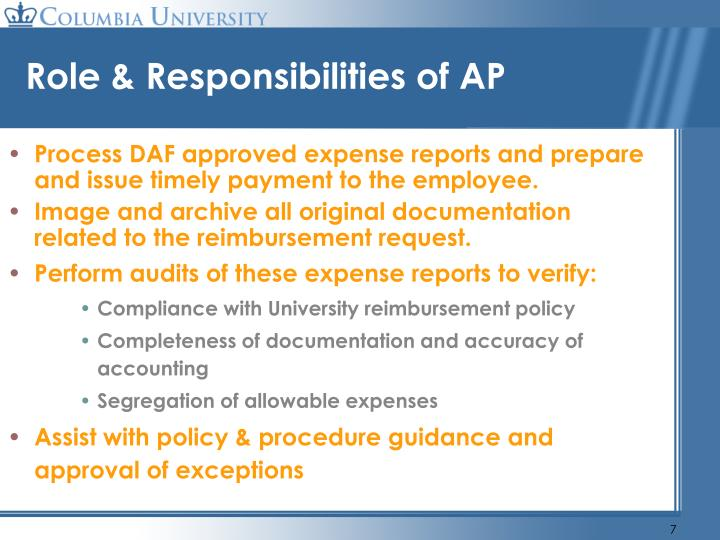 Role & Responsibilities of AP