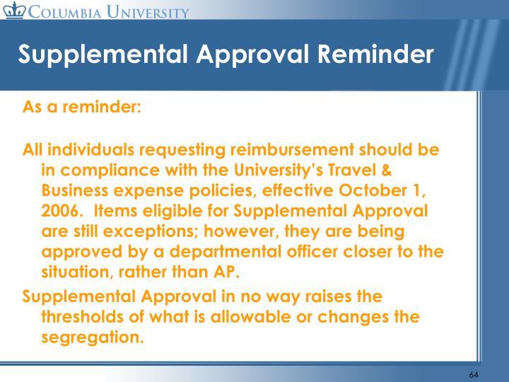 Supplemental Approval Reminder