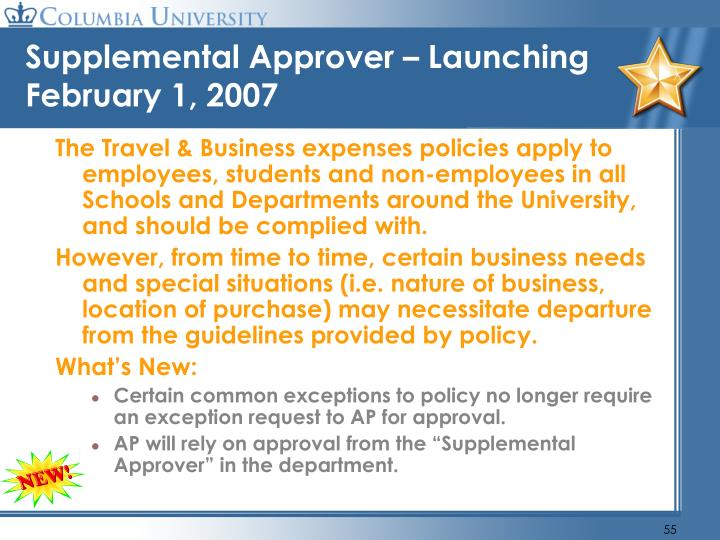Supplemental Approver – Launching February 1, 2007