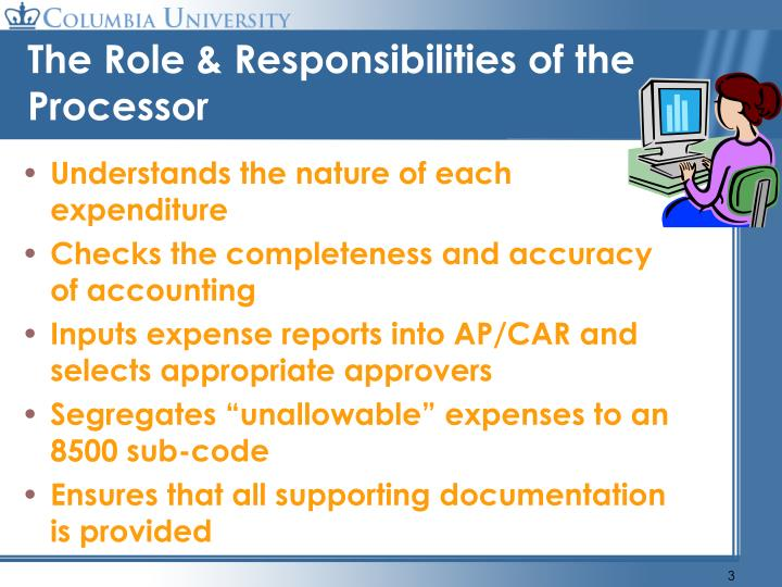 The role responsibilities of the processor