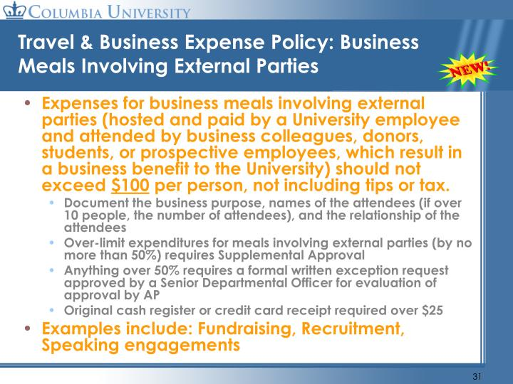 Travel & Business Expense Policy: Business Meals Involving External Parties