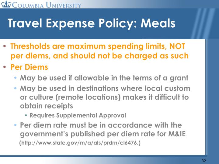 Travel Expense Policy: Meals
