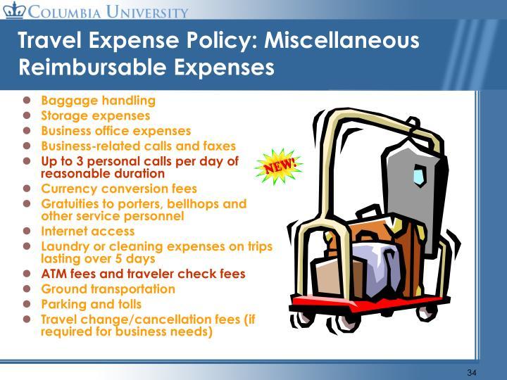 Travel Expense Policy: Miscellaneous Reimbursable Expenses