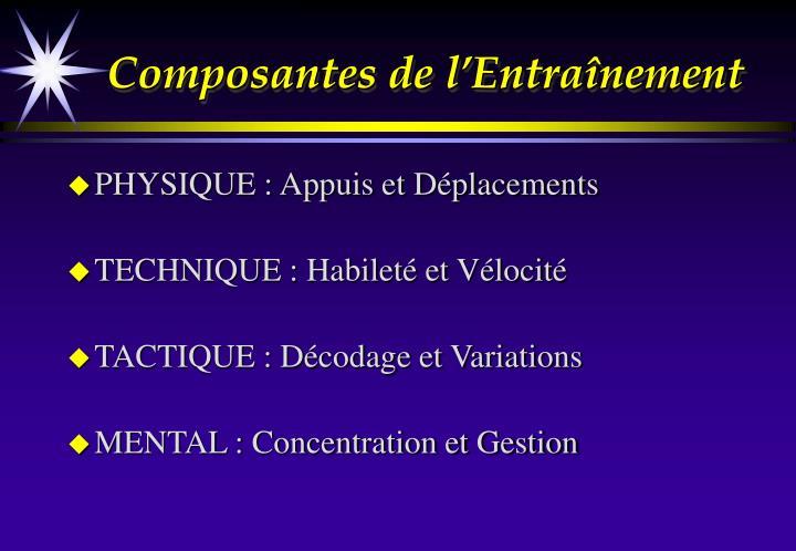 Composantes de l'Entraînement