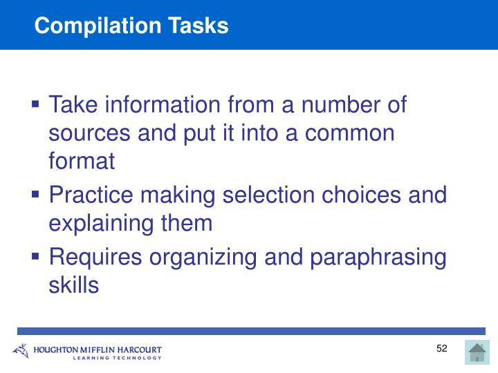Compilation Tasks
