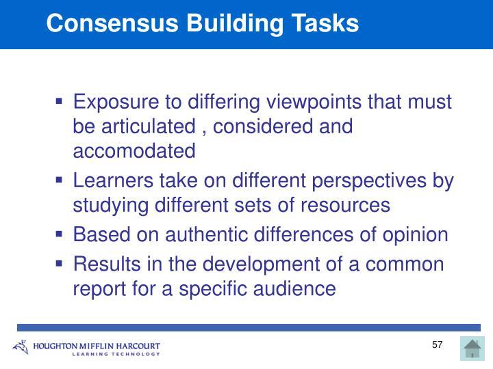 Consensus Building Tasks