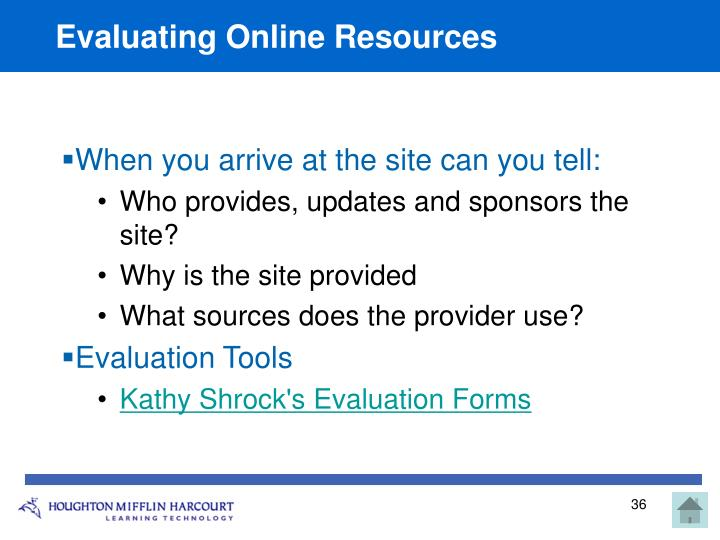 Evaluating Online Resource