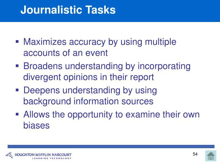 Journalistic Tasks
