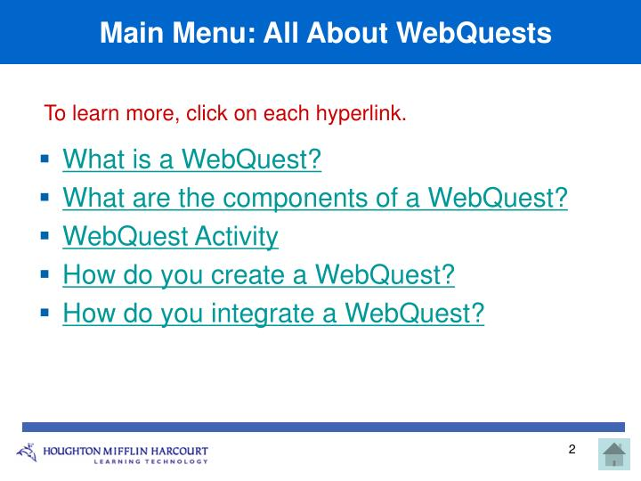 Main menu all about webquests