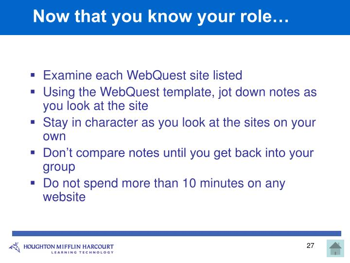 Now that you know your role…