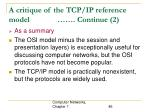 a critique of the tcp ip reference model continue 2