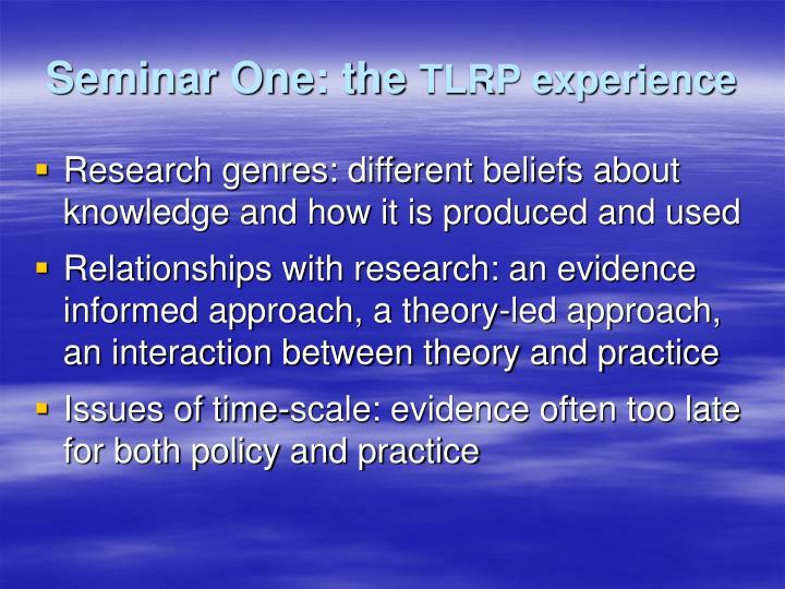 Seminar One: the