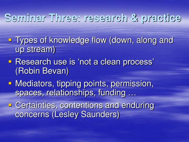 Seminar Three: research & practice