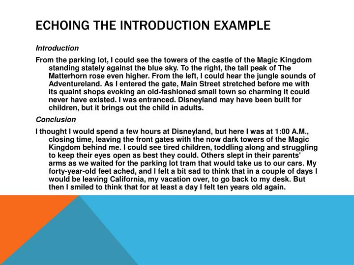Echoing the Introduction example
