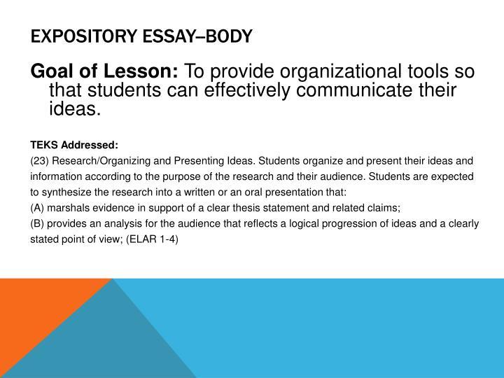 Expository Essay--Body