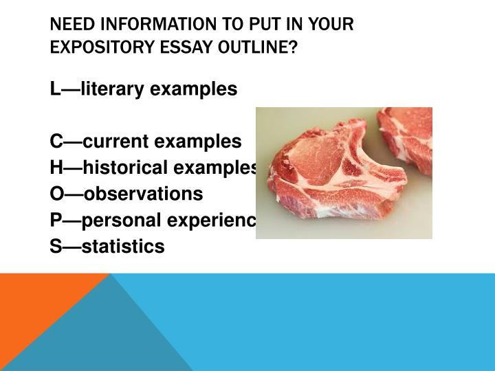 Need information to put in your expository essay outline?