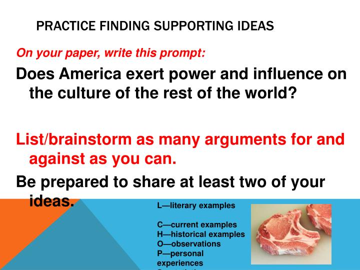 Practice finding supporting ideas