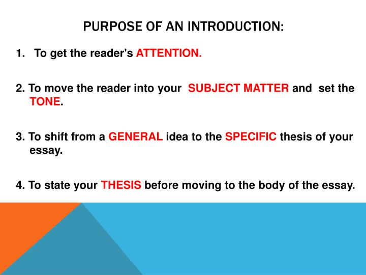 Purpose of an Introduction: