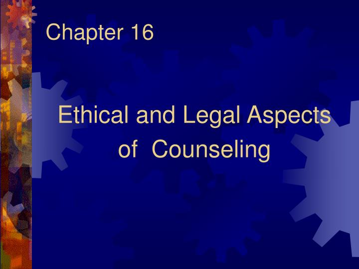 ethical and professional aspects of counselling work Professional ethics - beliefs about behavior and conduct that guide professional practices morality - involves judgment or evaluation of action religious values in counseling (aservic) is concerned with ethical values in counseling the development of codes of ethics for counselors the aca.