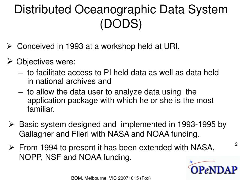 Distributed Oceanographic Data System (DODS)
