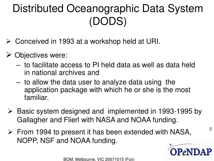 Distributed oceanographic data system dods