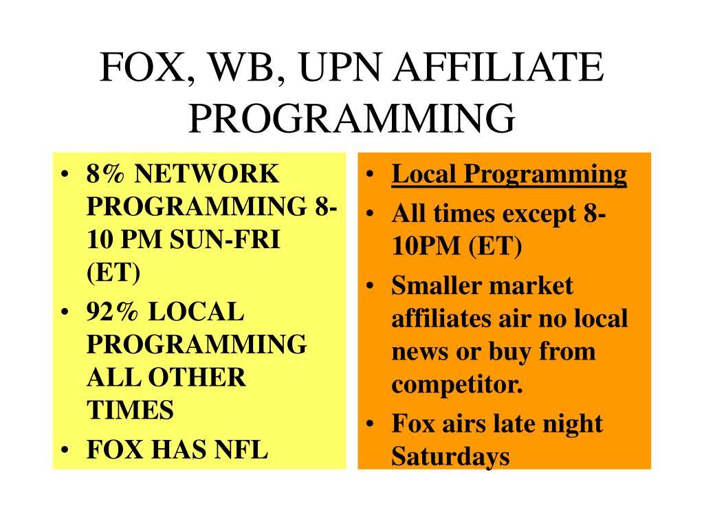 8% NETWORK PROGRAMMING 8-10 PM SUN-FRI (ET)