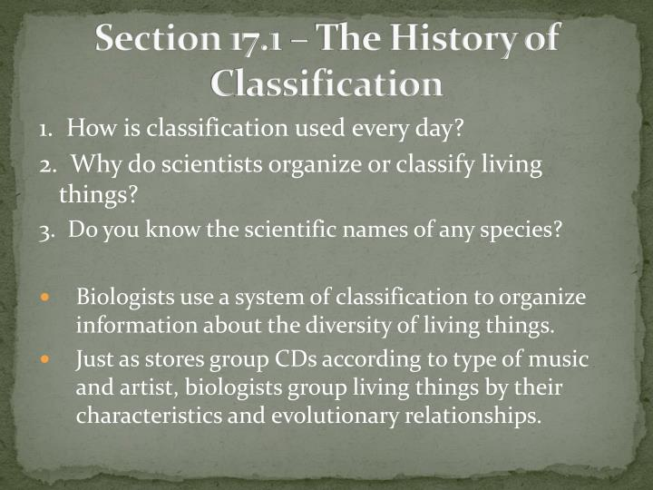 Section 17 1 the history of classification