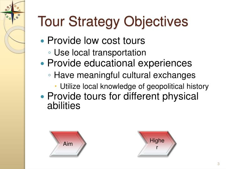 Tour strategy objectives