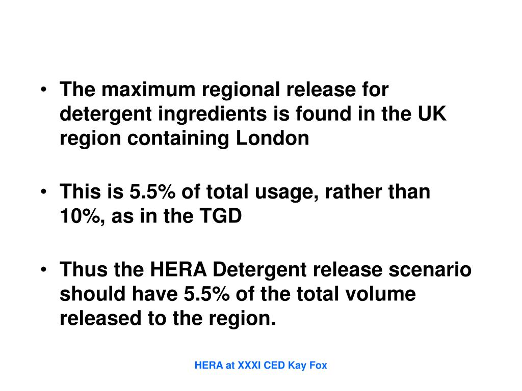 The maximum regional release for detergent ingredients is found in the UK region containing London