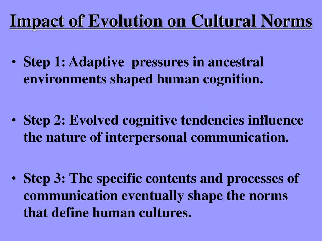 Impact of Evolution on Cultural Norms