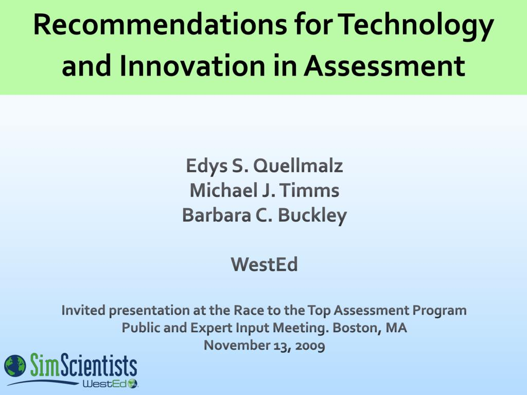 recommendations for technology and innovation in assessment l.