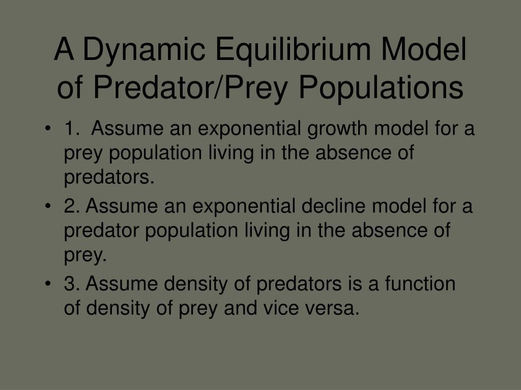 A Dynamic Equilibrium Model of Predator/Prey Populations